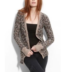 Free People   Leopard Print Button Front Cardigan